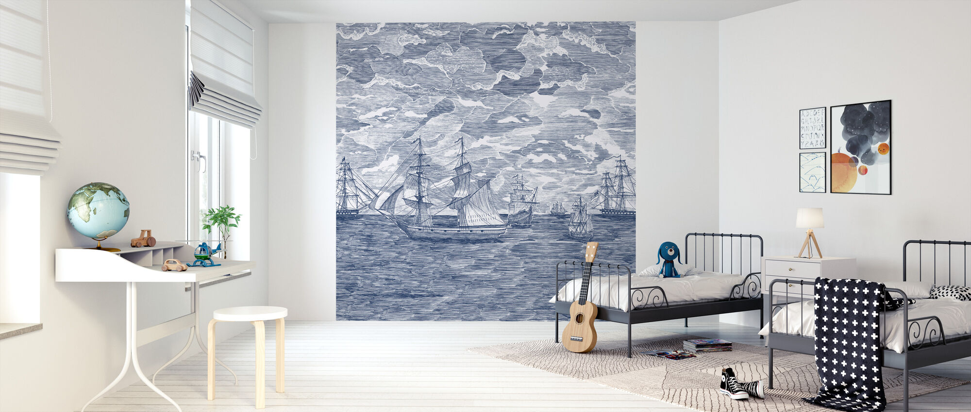 Sail Away - Navy - Wallpaper - Kids Room