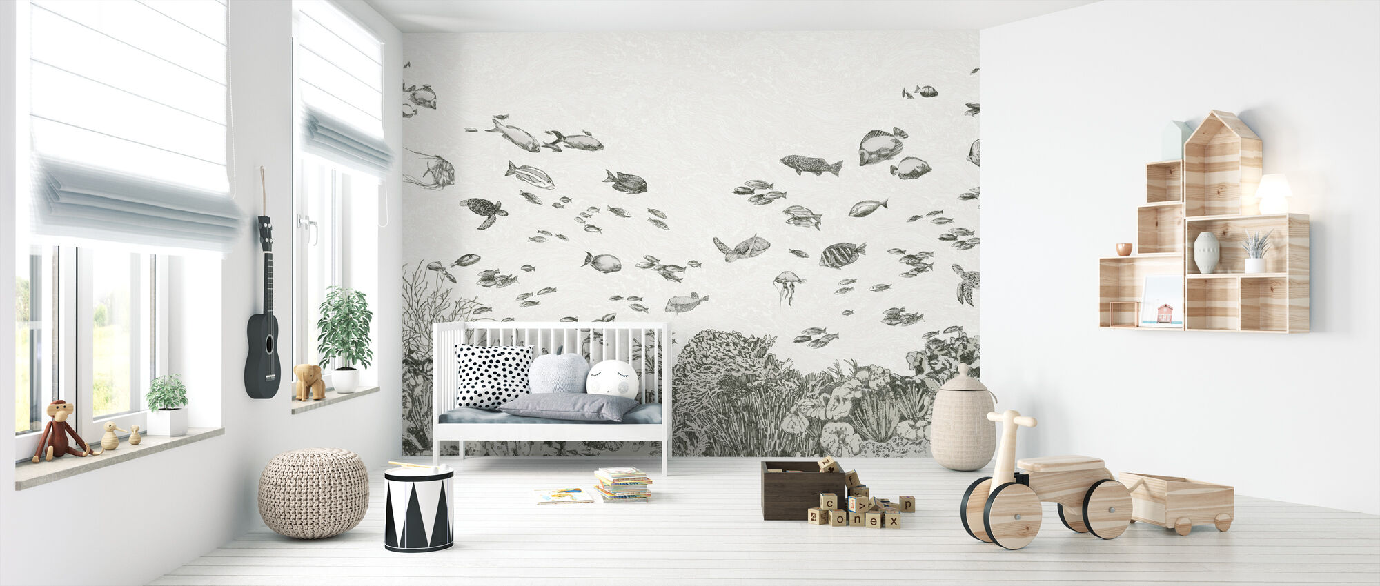 Under the Sea - Black - Wallpaper - Nursery