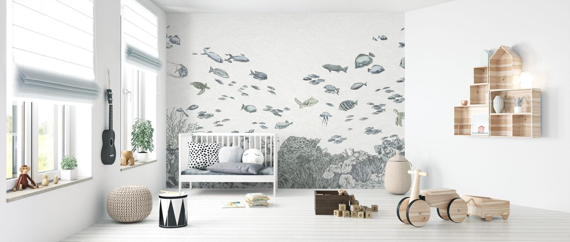 Under the Sea - Blue - Wallpaper - Nursery