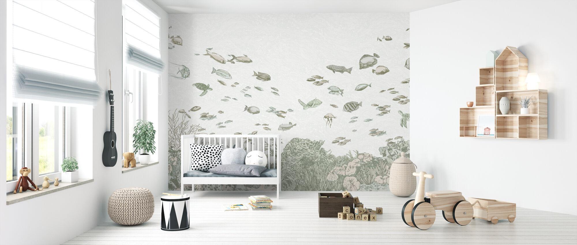Under the Sea - Green - Wallpaper - Nursery