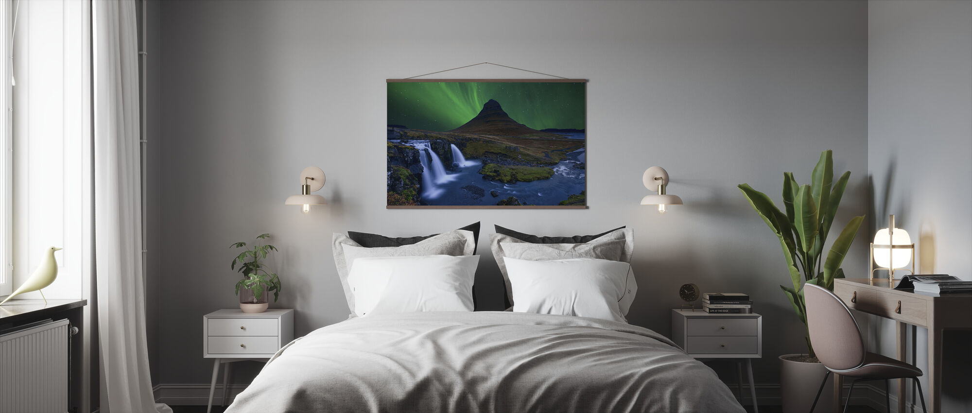 Kirkju Fell Under a Boreal Green Sky - Poster - Bedroom