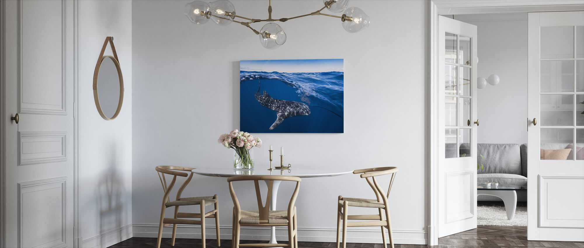Walvishaai op Split Level - Canvas print - Keuken