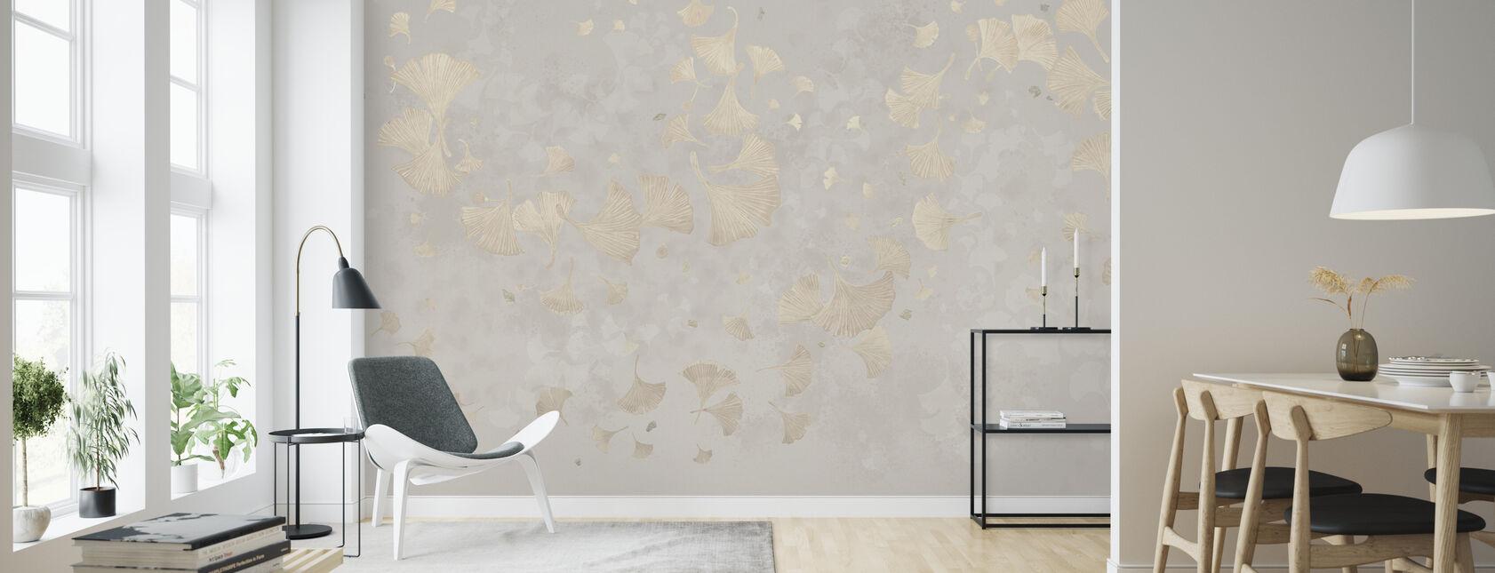 Ginkgo Blätter Blowin im Wind - Beige - Tapete - Wohnzimmer