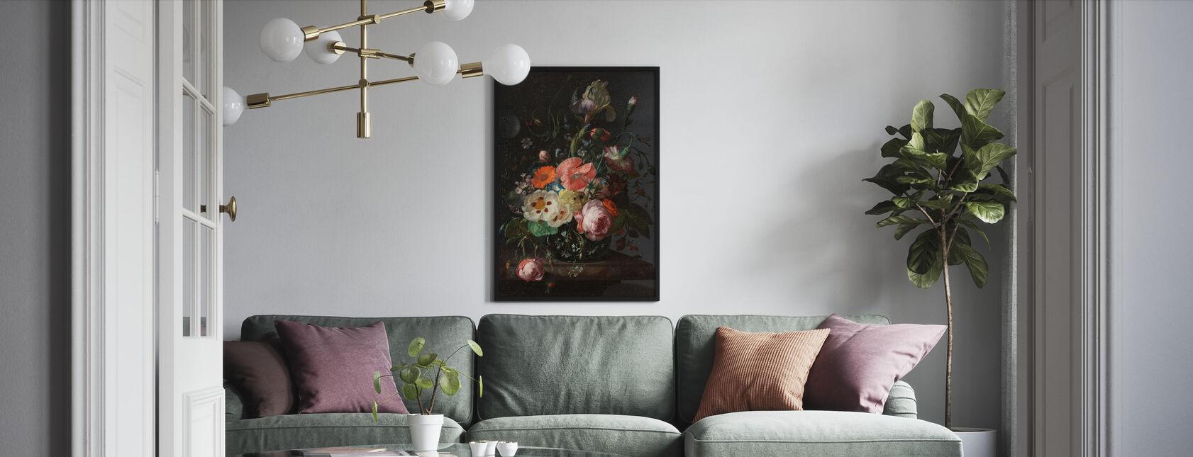 Stilleven met bloemen - Rachel Ruysch - Ingelijste print - Woonkamer