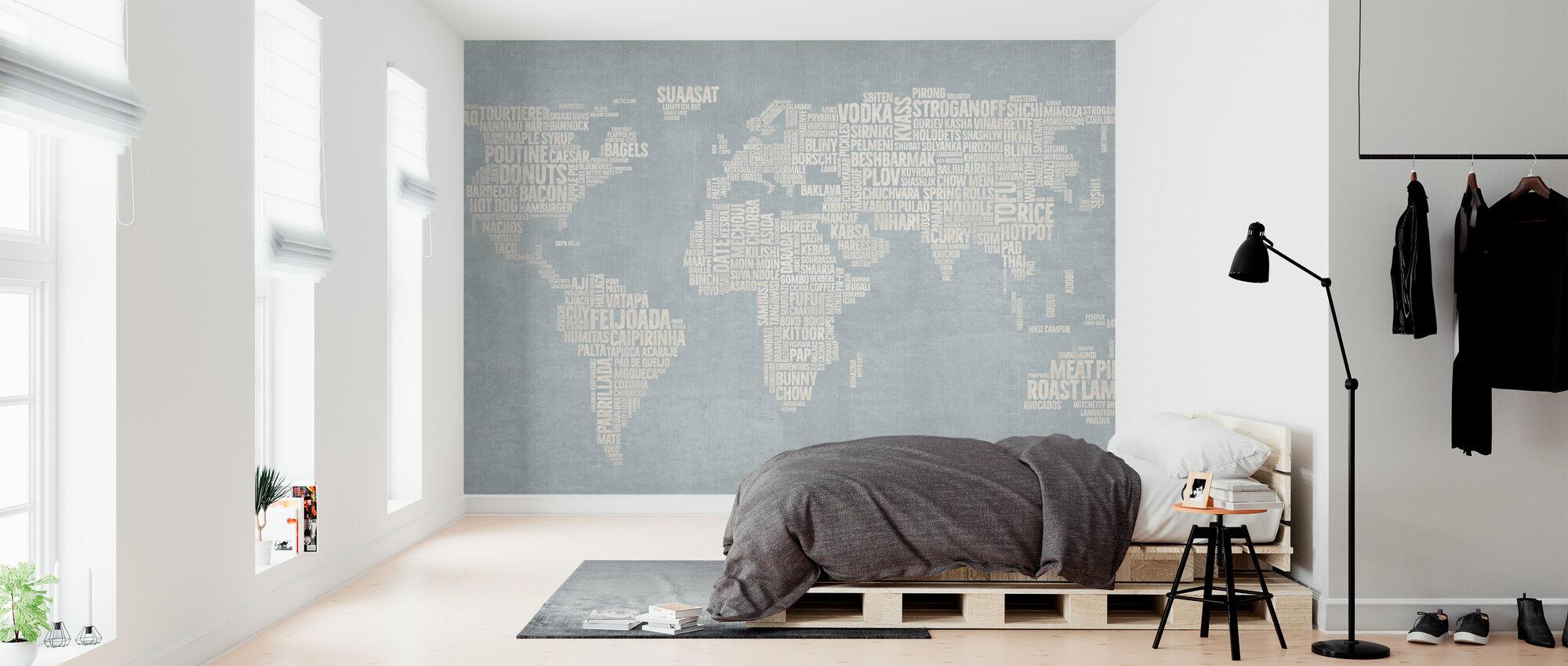 World Menu Kartta - Sininen - Tapetti - Makuuhuone