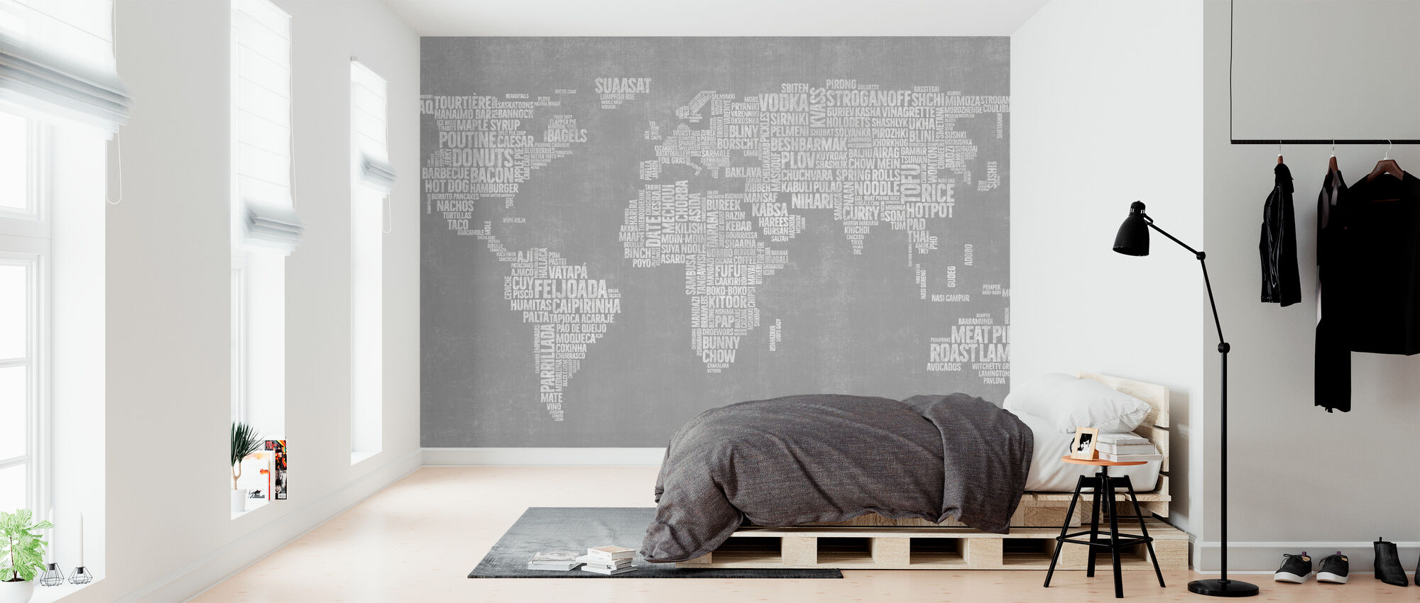 Maailman Menu Kartta - Harmaa - Tapetti - Makuuhuone