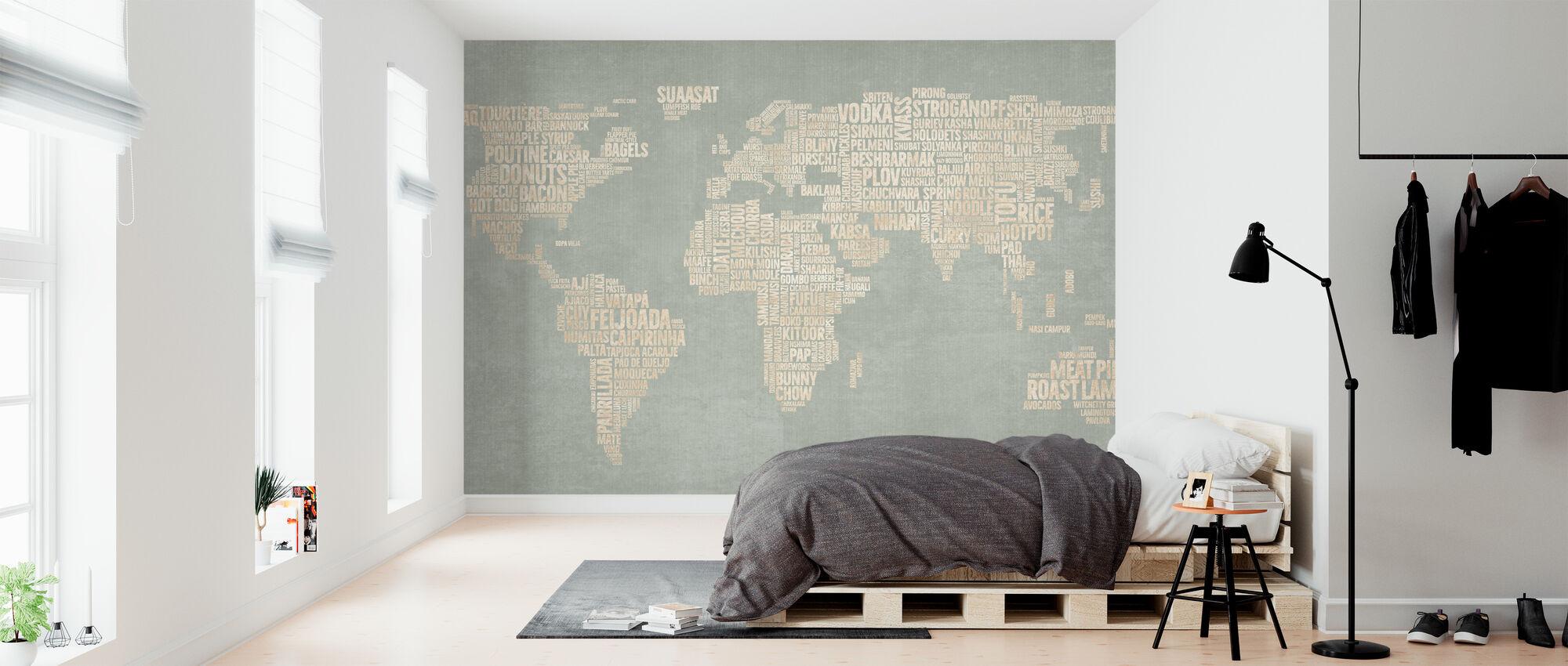 Maailman Menu Kartta - Vihreä - Tapetti - Makuuhuone