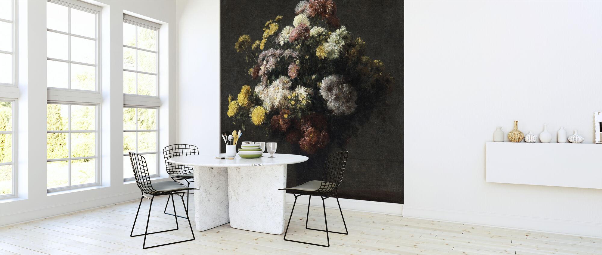 Vase med krysantemum - Henri Fantin Latour - Tapet - Kjøkken