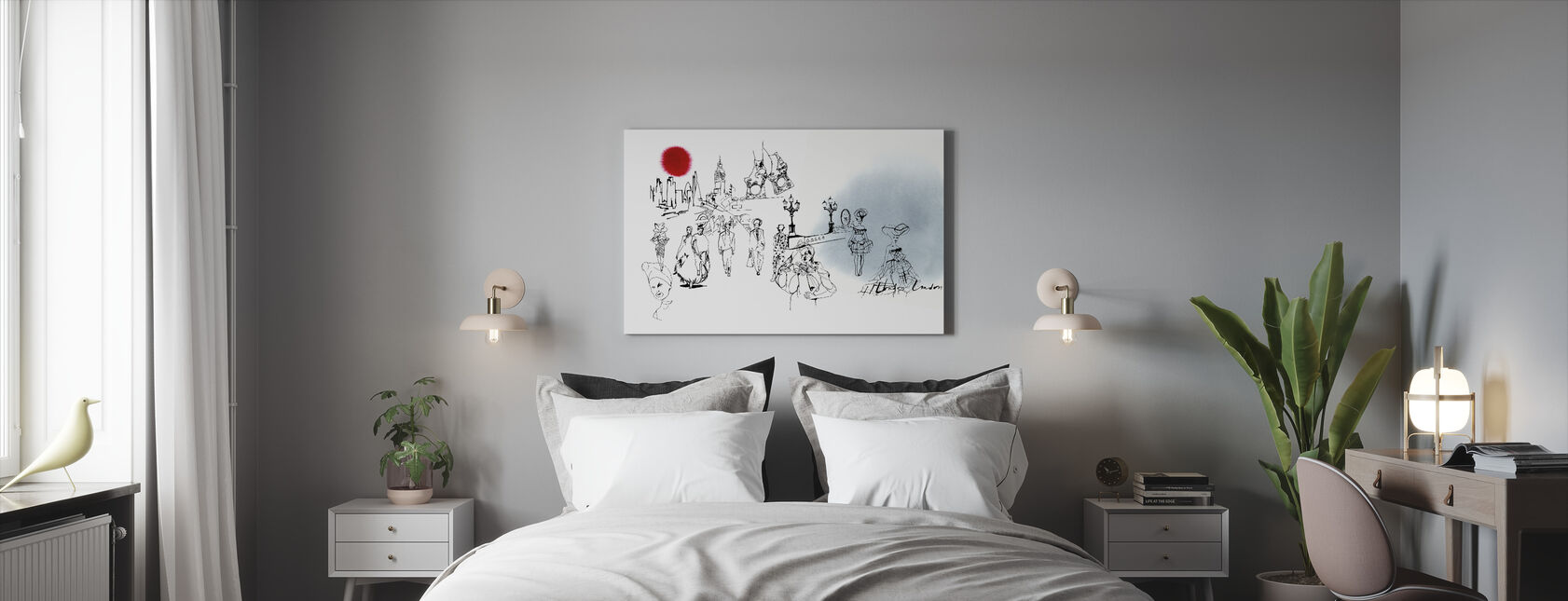 Lontoon painos - Canvastaulu - Makuuhuone